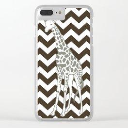 Cola Safari Chevron with Pop Art Giraffe Clear iPhone Case