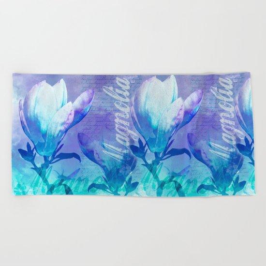 Blue Purple Magnolia mixed media typography illustration Beach Towel