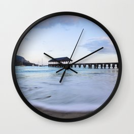 Hanalei Bay Pier at Sunrise Wall Clock
