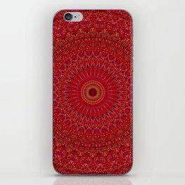Red Lace Ornament Mandala iPhone Skin
