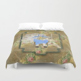 Woman Playing the Accordion Duvet Cover