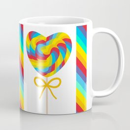 Valentine's Day Heart shaped candy lollipops with bow, colorful spiral candy cane with rainbow Coffee Mug