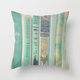 Aqua Mint Books Throw Pillow