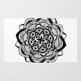 Blossoming black mandala on white (1) Rug