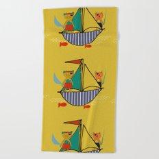 Pirate boat yellow Beach Towel
