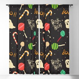 happy halloween candies, ghosts, lollipops and boo pattern Blackout Curtain