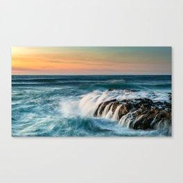 Cape Perpetua Ocean Waterfall Sunset Canvas Print