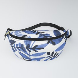 Watercolor branches - blue Fanny Pack