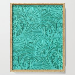 Turquoise Tooled Leather Print Serving Tray