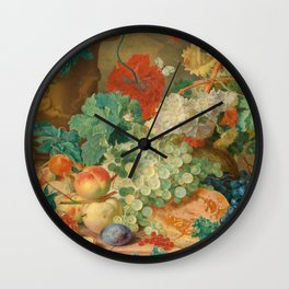 "Jan van Huysum ""Still Life with Flowers and Fruit"" Wall Clock"