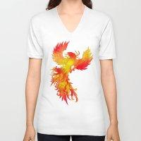 phoenix V-neck T-shirts featuring Phoenix by Paula Belle Flores