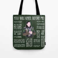 loki Tote Bags featuring Loki by MacGuffin Designs