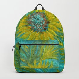 Sunflower Abstract on Turquoise I Backpack