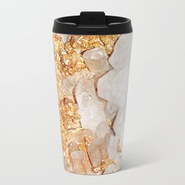 White and Rose Gold Crystal Travel Mug