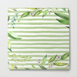 Watercolor Art Bold Green Stripes Floral Spring Design Metal Print