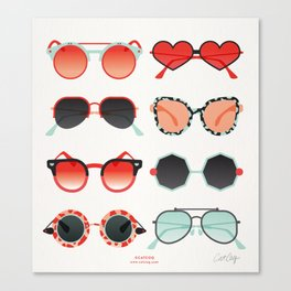 Sunglasses Collection – Red & Mint Palette Canvas Print