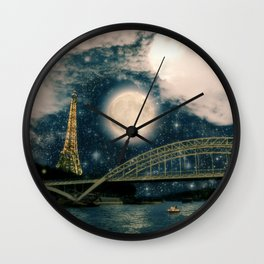 One Starry Night in Paris Wall Clock