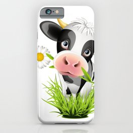 Cute Holstein cow in grass iPhone Case