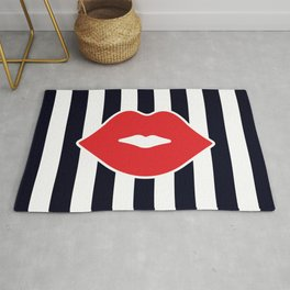 Red Lips with Stripes Rug