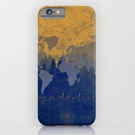 world map wanderlust forest yellow iPhone Case