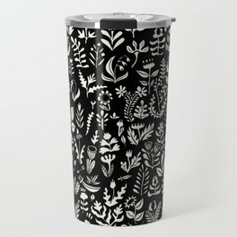 Black and white botanical pattern Travel Mug