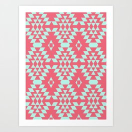 aztec Inspired Pattern Teal & Pink Art Print