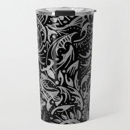 Silver Hand-Drawn Floral-Leaf Travel Mug