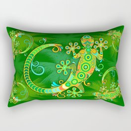 Gecko Lizard Colorful Tattoo Style Rectangular Pillow