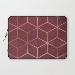 Pink and Rose Gold - Geometric Textured Gradient Cube Design Laptop Sleeve