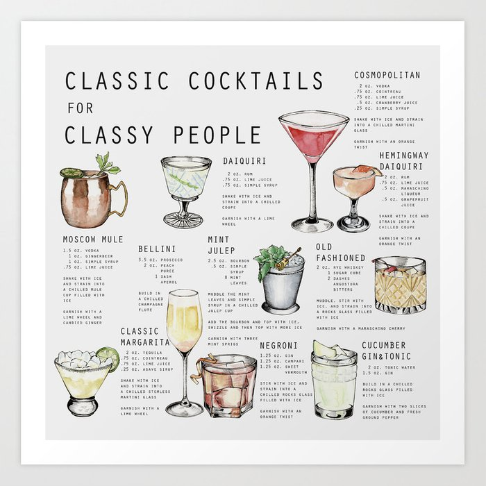 CLASSIC COCKTAILS FOR CLASSY PEOPLE Art Print