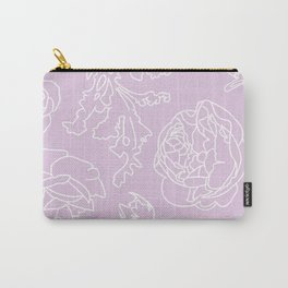 Peony Print (Lavander) Carry-All Pouch