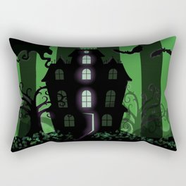 Be it ever so Haunted, there's no place like Home - Green Rectangular Pillow
