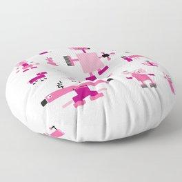 Robots-Pink Floor Pillow