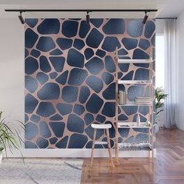 Glam Blue and Pink Giraffe Print Wall Mural