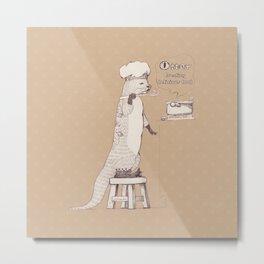 Creating delicious food - Otter - Burlywood Metal Print