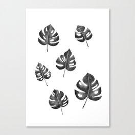 Tropical Monstera Monochrome Canvas Print