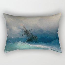 Ship on Stormy Seas, Seascape, Fine Art Print Rectangular Pillow