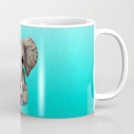 Cute Baby Elephant With Football Soccer Ball Coffee Mug