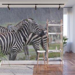 Zebras in the Rain Wall Mural