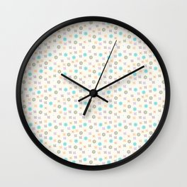 Teal orange lavender abstract modern floral Wall Clock