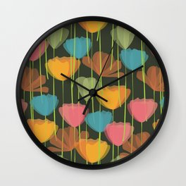 Colorful Tulip Floral Pattern Wall Clock
