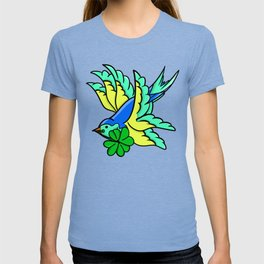 Swallow With Lucky Four Leaf Clover T-shirt