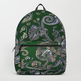 Painted Tibetan Brocade green Backpack