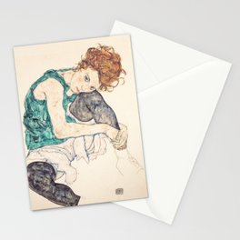Sitting Woman With Legs Drawn Up Stationery Cards