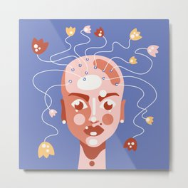Grow yourself - bold colors, and simple shapes futuristic portrait Art Print Metal Print
