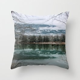 snowy reflection Throw Pillow