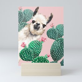 Llama and Cactus Pink Mini Art Print