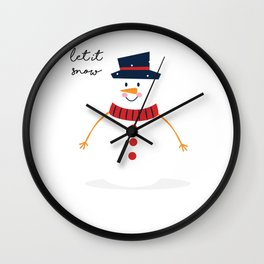 Snowman Let It Snow Cute Christmas For Holiday Wall Clock