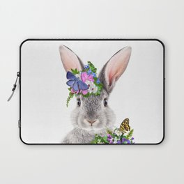 Grey Bunny With Flower Crown 2, Baby Animals Art Print by Synplus Laptop Sleeve