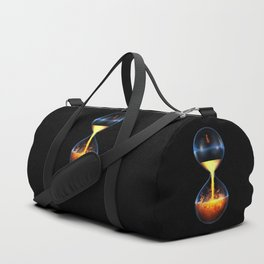Old flame / 3D render of hourglass flowing liquid fire Duffle Bag